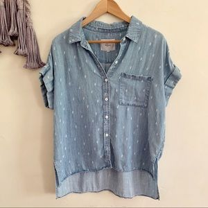 Rails chambray rolled sleeve button up cactus top